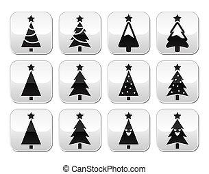 arbre, boutons, ensemble, noël, vecteur