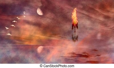 arbre brûlant, rivage, lac