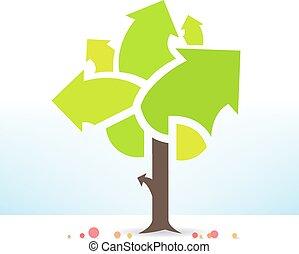 arbre, business, fructueux