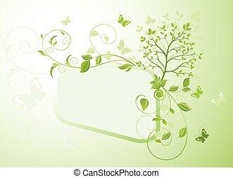 arbre, cadre, vert