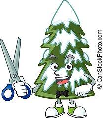 arbre, caractère, dessin animé, mascotte, noël, modèle neige, heureux, coiffeur