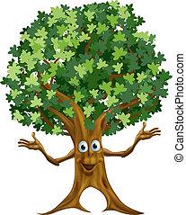 arbre, caractère, dessin animé
