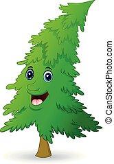 arbre, caractère, noël, dessin animé