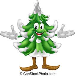 arbre, caractère, noël, mascotte