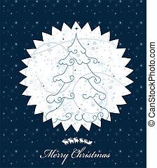 arbre, card., illustration, noël, vecteur, salutation