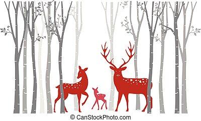 arbre, cerf, noël, rouges, bouleau