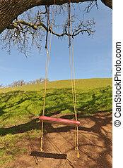 arbre chêne, pend, grand, branche, balançoire, rouges