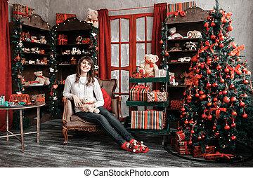arbre, chaise, joli, maison portrait, girl, assied, noël