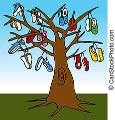 arbre, chaussure