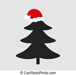 arbre, claus, noël chapeau, icon., santa