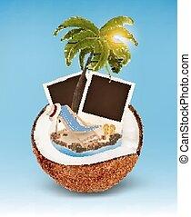 arbre, coconut., concept., vacances, photos, paume, vector., chaise, plage