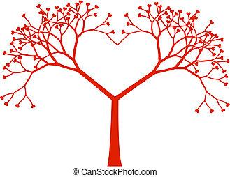 arbre, coeur, vecteur
