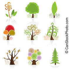 arbre, collection, icône