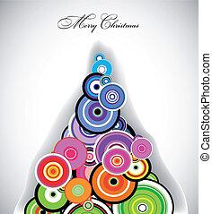 arbre., coloré, vecteur, retro, cercle, noël