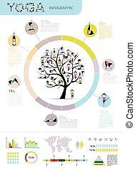 arbre, conception, infographic, yoga, ton