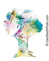 arbre, conception, mains