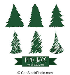arbre, conception, pin