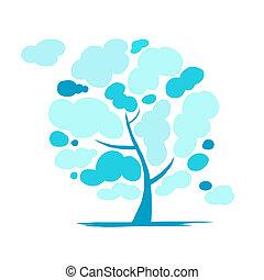 arbre, conception, ton, nuageux