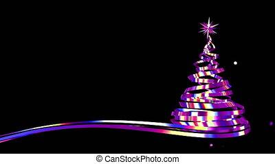 arbre, confetti, noël, pourpre, rubans, iridescent, explosion