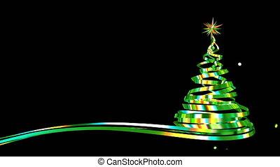 arbre, confetti, noël, rubans, iridescent, vert, explosion