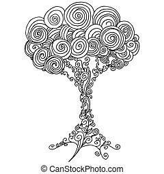 arbre, contour, zentangle