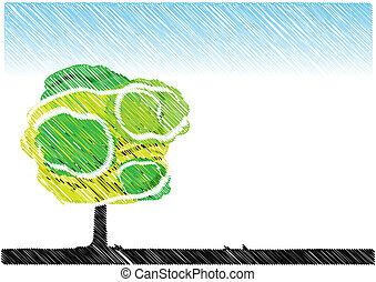 Planter croquis arbre planter rev tir art arbre mains - Croquis arbre ...