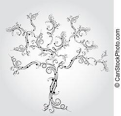 arbre, décoratif, vecteur, illustration