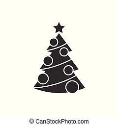 arbre, décorations noël, icône