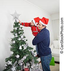 arbre, décorer, père noël, fils