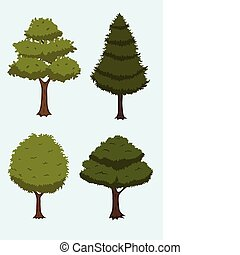 arbre, dessin animé, collection