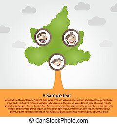 arbre, dessin animé, famille, faces