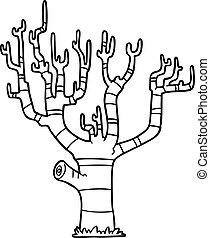 arbre, dessin animé, hiver