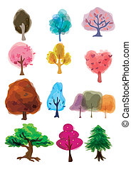 arbre, dessin animé, icône