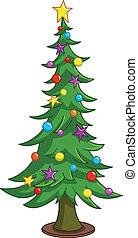 arbre, dessin animé, noël