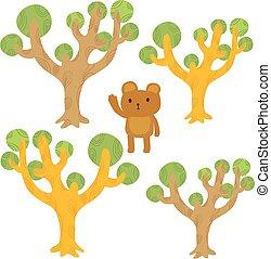 arbre, dessin animé, ours