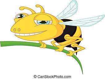 arbre, dessin animé, tenue, abeille