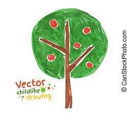 arbre., dessin, enfantin, pomme