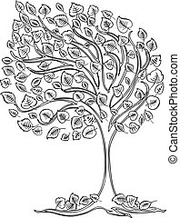 arbre, dessin, vent, vecteur