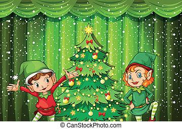arbre, deux, elfes, noël