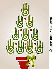 arbre, diversité, vert, noël, mains