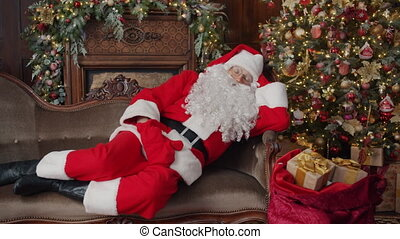 arbre, dons, noël, santa, sac, claus, décoré, dormir, salle