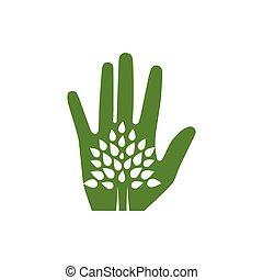 arbre, eco-amical, main