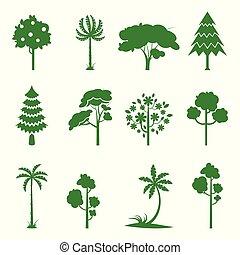 arbre, ensemble, vert, icons.