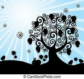 arbre, ensoleillé, illustration, vecteur, fond, paques