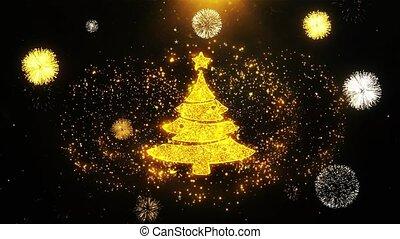 arbre, exposer, noël, icône, explosion, étoile, particles., feud'artifice
