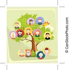 arbre, famille, illustration
