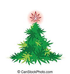 arbre, feuille, noël, cannabis