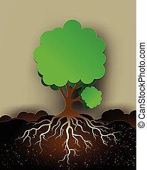 arbre, feuilles, illustration, racines, vert