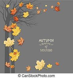 arbre, feuilles, silhouette, tomber
