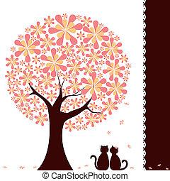 arbre, fleur, amour, chats, printemps